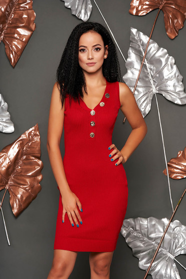 Red dress daily short cut pencil sleeveless with v-neckline from elastic fabric knitted with button accessories