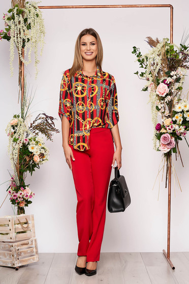 Red lady set elegant 2 pieces with trousers cotton with graphic details women`s shirt