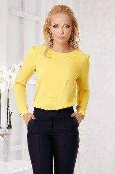 Yellow women`s blouse elegant flared neckline from veil fabric long sleeved