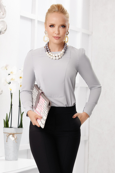 Grey women`s blouse elegant flared neckline from veil fabric long sleeved