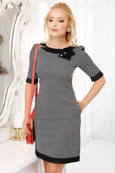 Black dress elegant 3/4 sleeve pencil short cut midi with graphic details