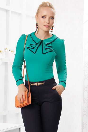 Green women`s shirt elegant tented cotton thin fabric ruffled collar