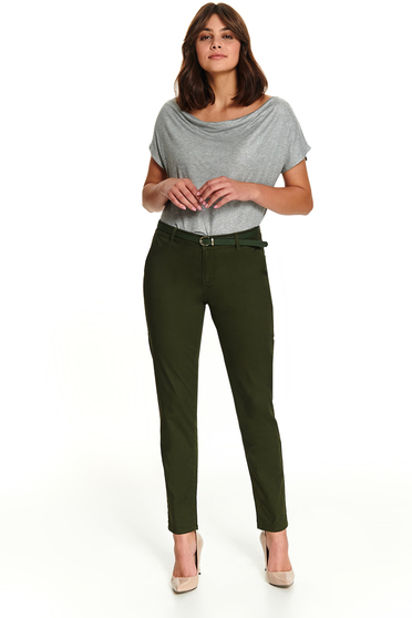 Casual long green conical trousers with pockets and faux leather belt
