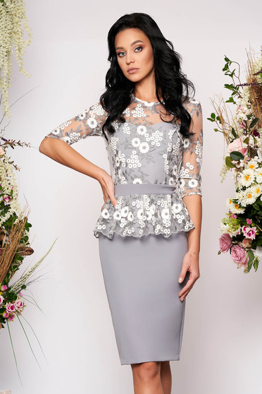 StarShinerS silver dress occasional short cut pencil peplum with 3/4 sleeves corset