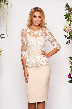 StarShinerS gold dress occasional short cut pencil peplum with 3/4 sleeves corset