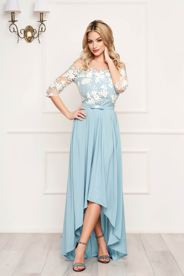 StarShinerS mint dress occasional midi cloche from veil fabric detachable cord with 3/4 sleeves naked shoulders