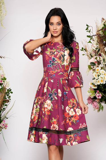 Purple dress occasional cloche with floral print bell sleeves neckline