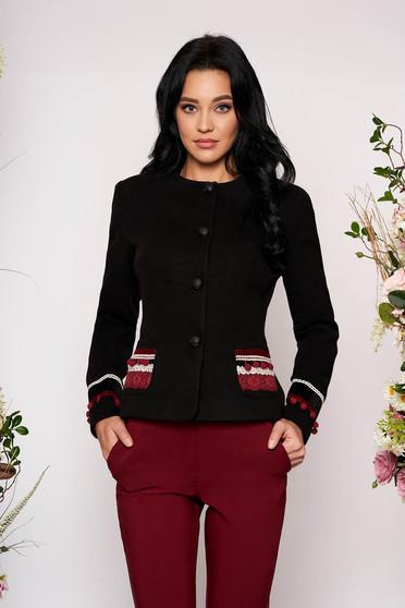 Black jacket wool tented elegant blazer handmade applications