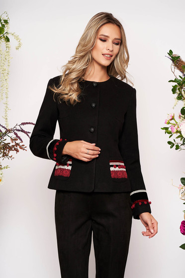 Black jacket wool tented elegant blazer handmade applications