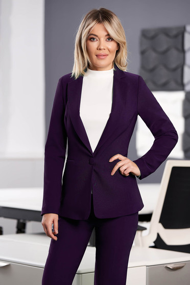 StarShinerS purple jacket with inside lining office from non elastic fabric arched cut