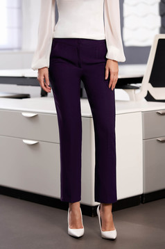 StarShinerS purple office trousers with pockets medium waist slightly elastic fabric with straight cut