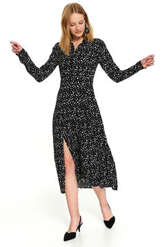 Black casual daily midi cloche dress with dots print long sleeves and cut material