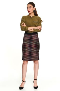 Black casual midi pencil skirt with graphic details