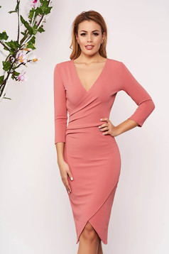 StarShinerS pink dress elegant midi pencil with v-neckline wrap over front with 3/4 sleeves from elastic fabric