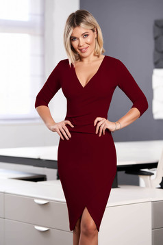 StarShinerS burgundy dress elegant midi pencil with v-neckline wrap over front with 3/4 sleeves from elastic fabric