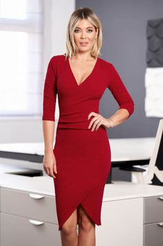 StarShinerS red dress elegant midi pencil with v-neckline wrap over front with 3/4 sleeves from elastic fabric