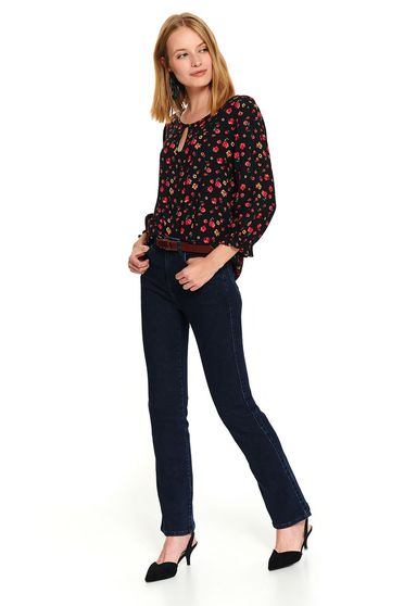 Black casual short cut flared women`s blouse with 3/4 sleeves and floral print