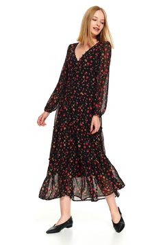 Black casual midi cloche dress from veil fabric with v-neckline with floral print