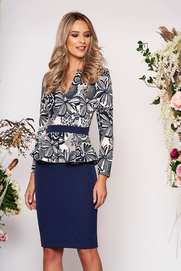 StarShinerS darkblue dress elegant short cut pencil peplum long sleeved without clothing with graphic details