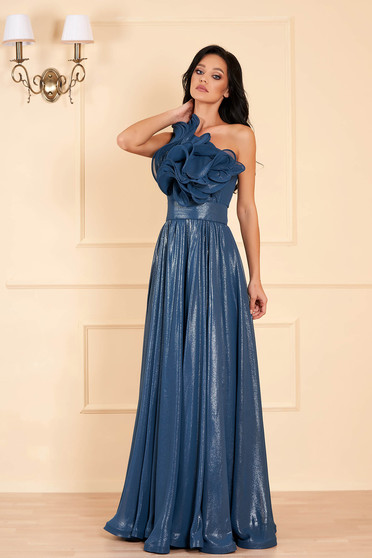 Ana Radu turquoise occasional cloche dress from shiny fabric frilly trim around cleavage line accessorized with tied waistband
