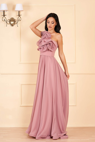 Ana Radu luxurious one shoulder from veil fabric with inside lining with ruffle details accessorized with tied waistband lightpurple dress