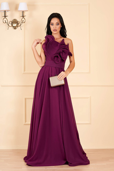 Ana Radu luxurious one shoulder from veil fabric with inside lining with ruffle details accessorized with tied waistband raspberry dress