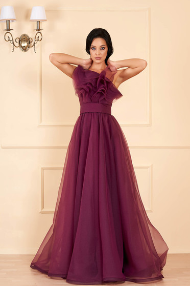 Ana Radu purple dress luxurious from tulle with inside lining with ruffles on the chest one shoulder