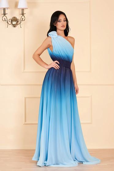 Ana Radu lightblue dress luxurious long one shoulder detachable cord airy fabric degrade
