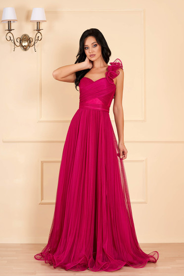 Ana Radu fuchsia luxurious long dress from tulle with push-up cups flaring cut