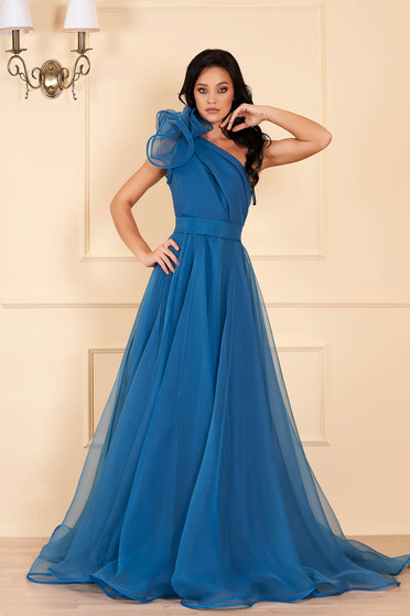 Ana Radu turquoise luxurious dress with inside lining accessorized with tied waistband one shoulder flaring cut