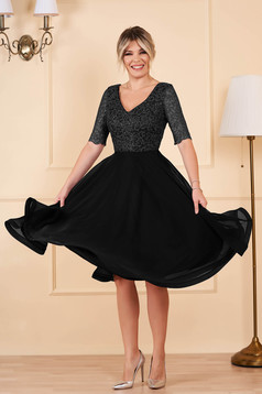 StarShinerS midi occasional cloche from veil fabric with sequins with v-neckline short sleeves black dress