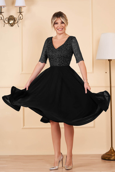 StarShinerS black dress occasional midi cloche from veil fabric with sequins with v-neckline short sleeves