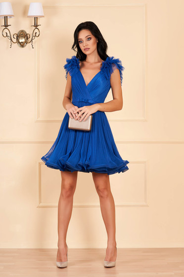 Ana Radu blue luxurious cloche dress from tulle with inside lining with deep cleavage