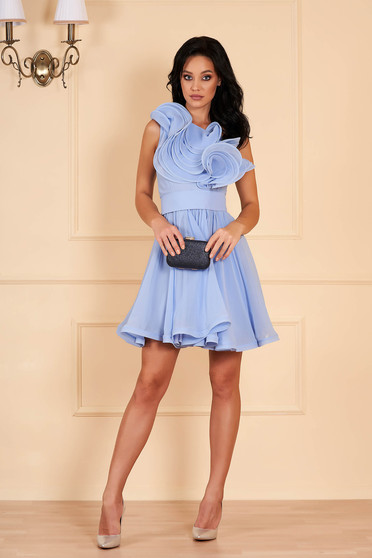 Ana Radu aqua dress luxurious short cut cloche from veil fabric detachable cord with inside lining one shoulder with ruffles on the chest