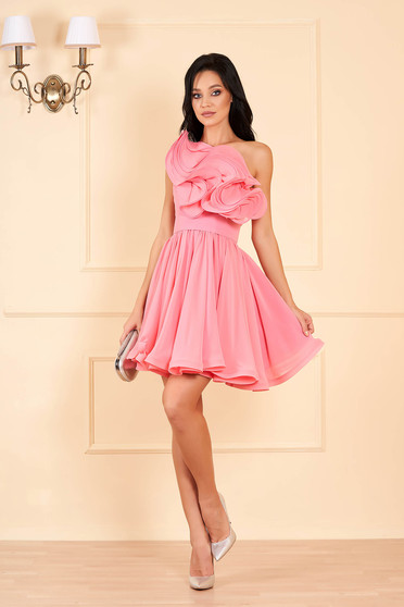 Ana Radu pink dress luxurious short cut cloche from veil fabric detachable cord with inside lining one shoulder with ruffles on the chest