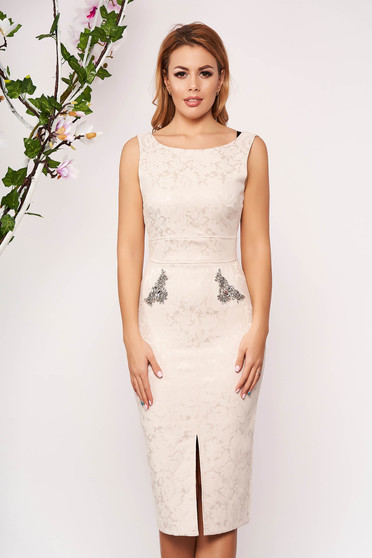 StarShinerS cream dress occasional midi pencil sleeveless v back neckline with crystal embellished details jacquard