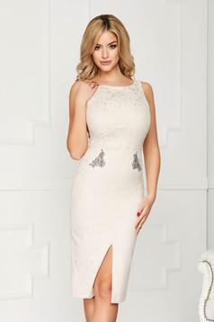 StarShinerS cream dress occasional midi pencil sleeveless v back neckline with crystal embellished details jacquard