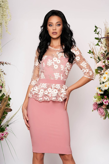 StarShinerS pink dress occasional short cut pencil peplum with 3/4 sleeves corset