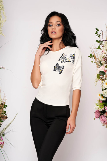 StarShinerS ivory women`s blouse elegant short cut tented neckline with 3/4 sleeves with graphic details