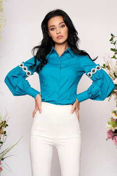 Turquoise women`s shirt elegant short cut long sleeved with puffed sleeves cotton