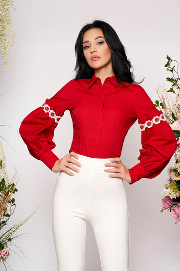 Red women`s shirt elegant short cut long sleeved with puffed sleeves cotton