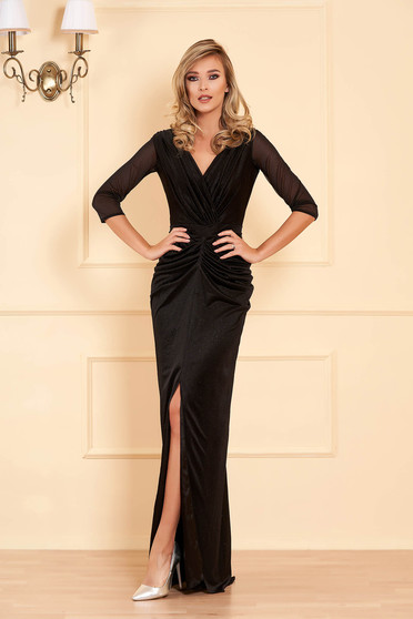 Black dress occasional long mermaid cut with glitter details with v-neckline cut material