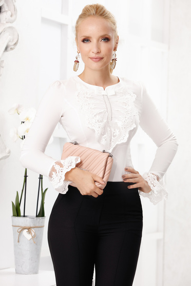 White elegant short cut cotton women`s blouse tented long sleeved with bell sleeve with lace details
