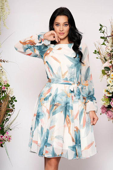 White elegant cloche midi dress from veil fabric with floral print elastic waist long sleeved