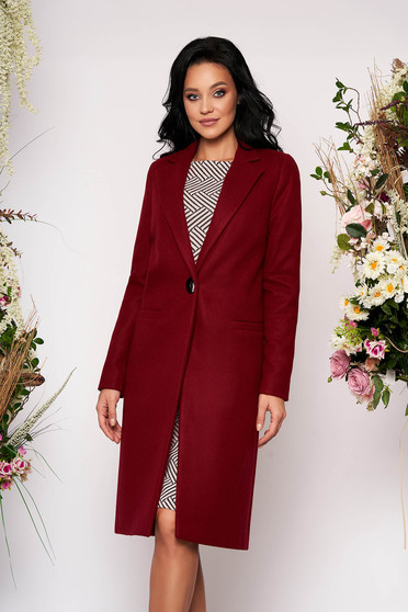 Straight with pockets burgundy coat from wool basic with inside lining