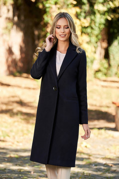 Straight with pockets darkblue coat from wool basic with inside lining