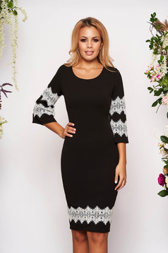 Black dress elegant short cut pencil with 3/4 sleeves with bell sleeve with lace details with rounded cleavage