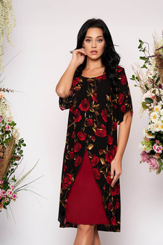 Black dress occasional short sleeves with cut-out sleeves straight with floral print fabric overlay
