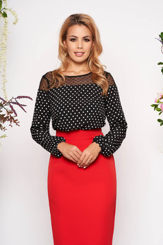 Black women`s blouse elegant short cut flared long sleeved elastic held sleeves dots print