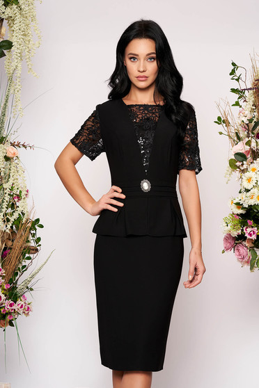 Black dress elegant midi pencil short sleeves with laced sleeves accessorized with breastpin